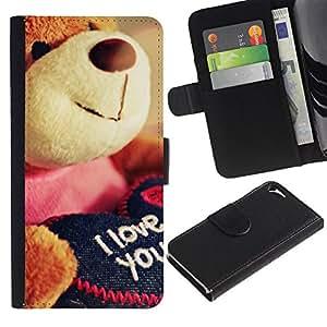 Billetera de Cuero Caso del tirón Titular de la tarjeta Carcasa Funda del zurriago para Apple Iphone 5 / 5S / Business Style Cute Teddy Bear Plush Toy Love You I