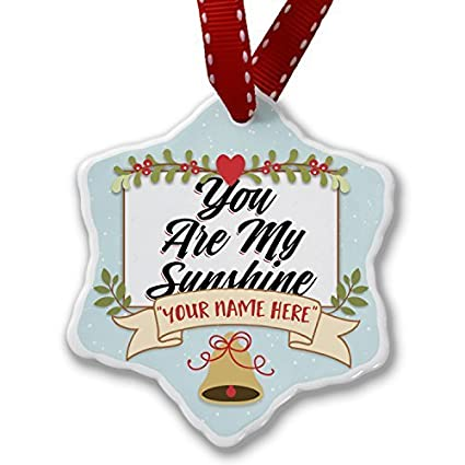 personalized christmas decorations add your own custom name vintage lettering you are my sunshine ornament for