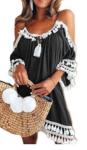 Cromoncent Femmes Floche Halterneck Épaule Froide Mode Plissé Robes Courtes Noir