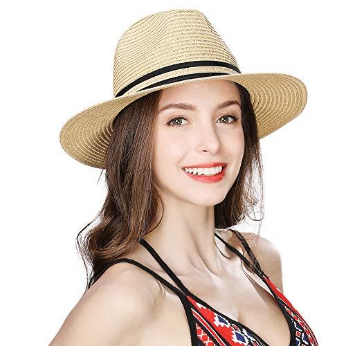 Womens Mens Straw Fedora Brim Panama Beach Crushable Packable Havana Summer Sun Hat Party Floppy Lady Beige Ivory Large