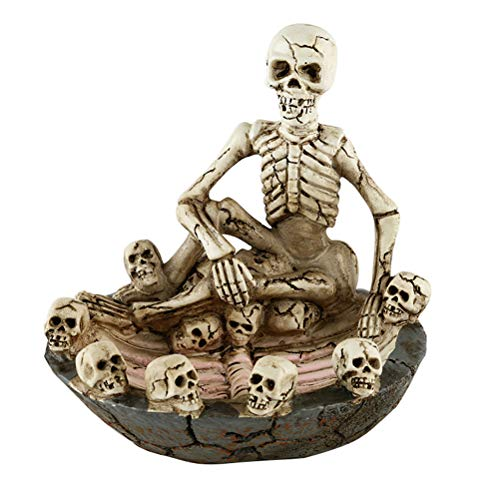Healifty Skeleton Figurines Collectibles Skull Skeleton Tobacco Ashtrays Halloween Home Table Decorations