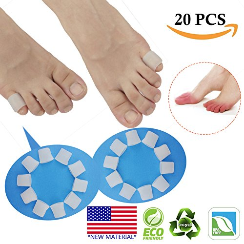 Toe Corn (Gel Toe Protectors, Open Toe Sleeves Toe Tubes Toe caps (20 PCS)NEW MATERIAL Great for Bunion Blisters, Corns, Hammer Toes, Toenails Loss, Friction Pain Relief and More. (For Pinky Toes))