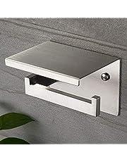 Ruicer Porte Papier Toilettes avec Etagère, Support Papier Toilette SUS 304 Acier Inoxydable Auto-adhésif ou Installation Murale