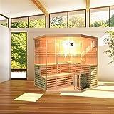 ALEKO SEA5JIU Canadian Hemlock Indoor Wet Dry Mini Sauna and Steam Room 6 kW ETL Certified Heater 5 to 6 Person 75 x 75 x 83 Inches