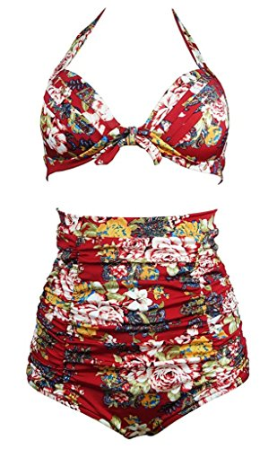Staringirl Flora Polka Vintage High Waisted Bikini Swimsuits Swimwear Red X-Large Burgundy Peony