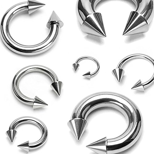 - BCN SOLD IN PAIRS Spike Top Steel Horseshoe Circular Barbell 316L Surgical Steel (16g 1/2