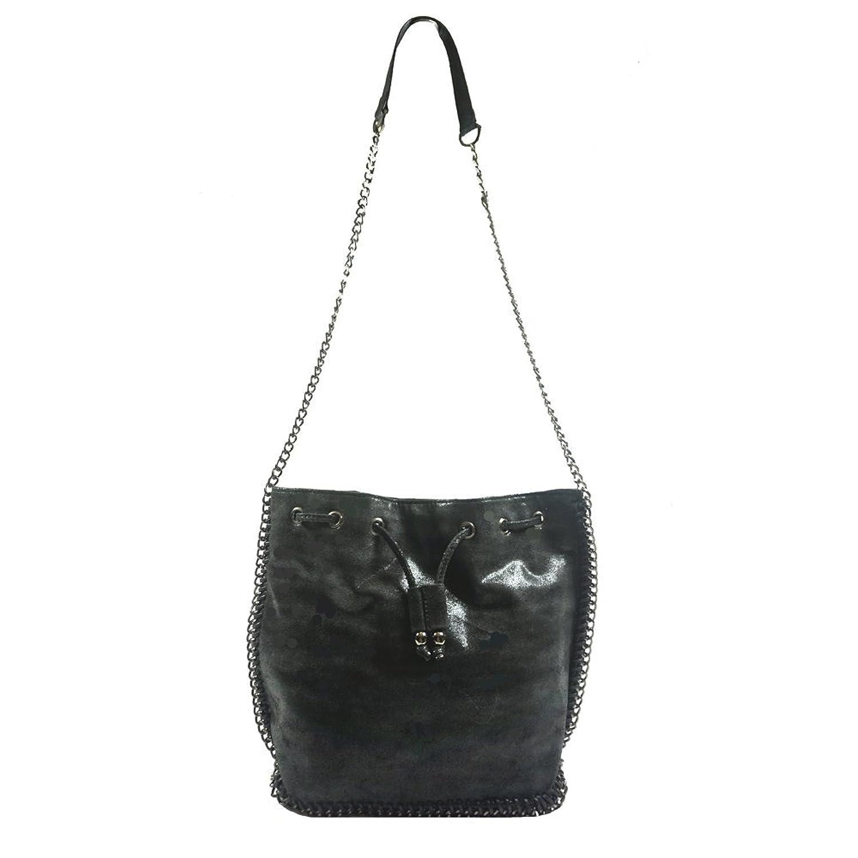 'Allegra' Designer Inspired Black Faux Leather Shoulder Handbag by Inzi