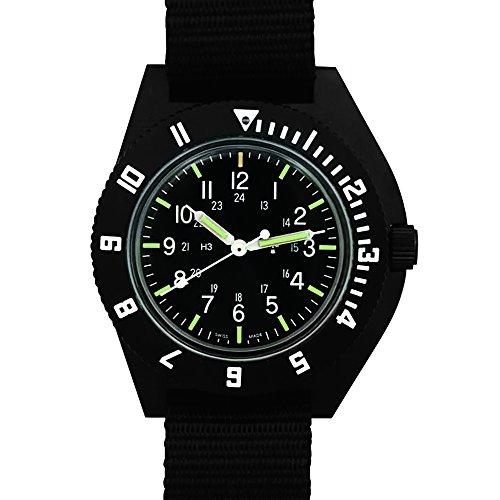 "MARATHON WW194001 ""The Navigator"" Swiss Made Military Issue Pilot's Watch with Tritium. ETA F06 Movement (Black)"