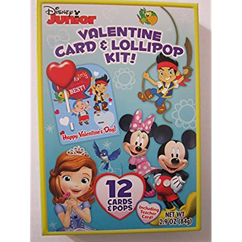 Disney Junior Valentine Card & Lollipop Kit ~ 12 count Sales