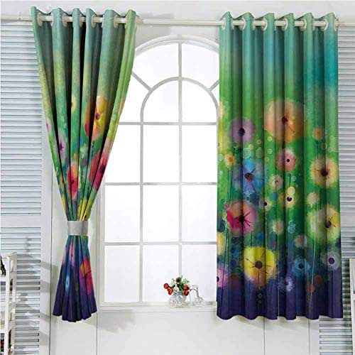 hengshu Watercolor Nature Landscape Floral Decor Collection Sliding Curtains for Bedroom Blossom Plants Herbs Garden Scene Colorful Spring Petal Flowers Blackout Shades for Bedroom W96 x L84 Inch