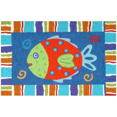 Tropical Reef Smiling Fish JellyBean Accent Rug (Tropical Rugs Accent)