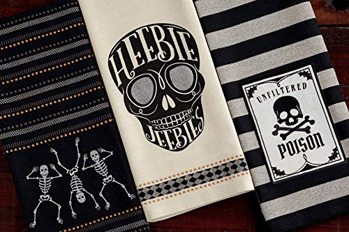 Halloween Dish Towels (Design Imports DII Bundle Set 3 Halloween Embellished Kitchen Dish Towels - Poison Skull - Dancing Skeletons - Heebie Jeebies)