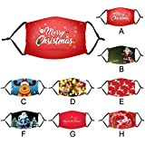 8 Pcs/Pack Assorted Adults Reusable Cotton Cloth Face_Mask with Novelty Funny Christmas Santa Patterns, Breathable and Washable for Office School Outdoor Daily Use Dust Pollen Droplets Protection