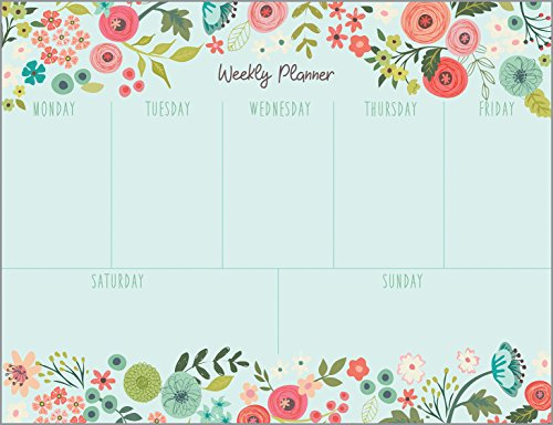 Gina B Designs Coral and Light Blue Flowers Weekly Planner Pad with Attachable Magnet