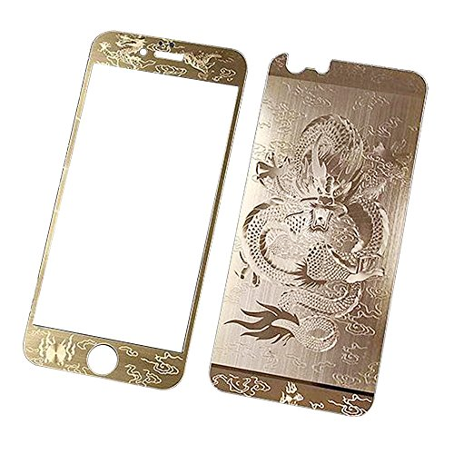 Front + Back Full Cover Mirror Tempered Glass Screen Protector for Apple iPhone 6 Plus /6s Plus 5.5 inch - fengus [Full Screen Coverage] Anti Fingerprint Edge to Edge Display Film - Gold Dragon