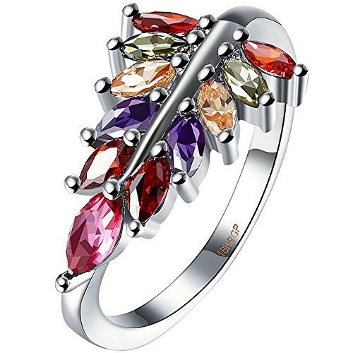 AWLY Jewelry Womens 18K White Gold Marquise Cut Leaf Design Multicolor Gemstone CZ Half Eternity Ring Size 9 (Gold Multi Color Gemstone Ring)