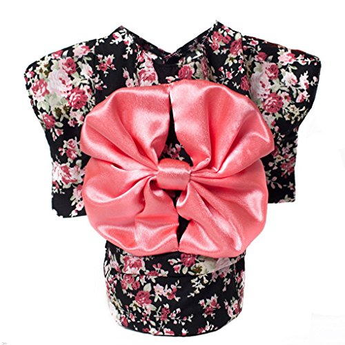 S-SSOY Cute Pet Japanese Kimono Style Halloween Costume with Big Bowknot Small Pink Dog Floral Dress, Size XL -