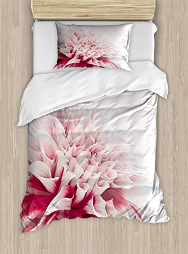 - Ambesonne Dahlia Duvet Cover Set Twin Size, Close up Dahlia Blossom with Red and White Petals One Single Large Flower, Decorative 2 Piece Bedding Set with 1 Pillow Sham, Ruby Ivory White