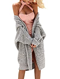 Glamaker Women's Casual Open Front Long Cardigan Knit Sweater with Long Sleeves
