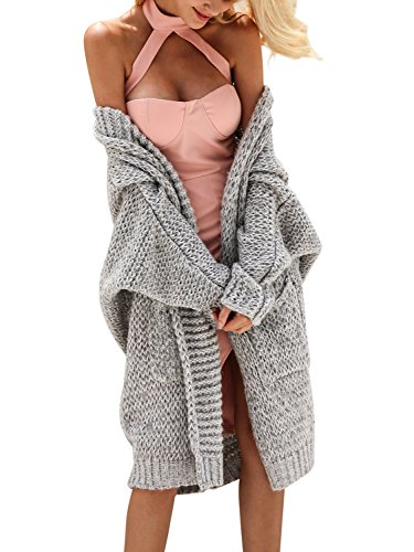 Glamaker Women's Casual Open Front Long Cardigan Knit Sweater with Long Sleeves Gray