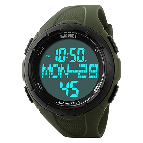 Mens Sport Pedometer Watch Digital Army Wristwatch Big Dial Timekeeping with Steps Calories Distance Counting Fits 6.7''- 8.86'' 50m Waterproof (Army Green)