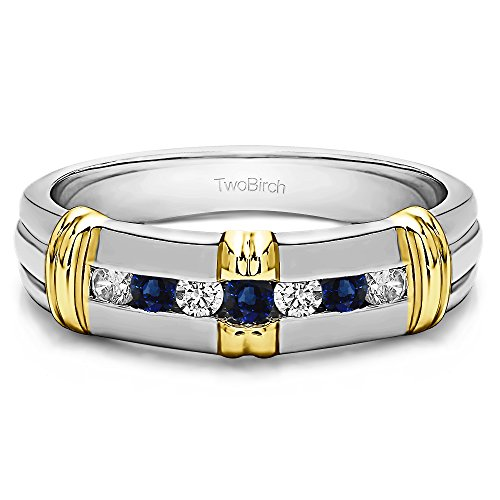TwoTone Silver Gents Wedding Band Diamonds(G,I2) and Sapphire(0.315Ct) Size 3 To 15 in 1/4 Size Intervals