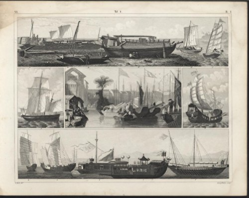 Ships on a Beach Asian Ships c. 1850 Heck antique detailed engraving