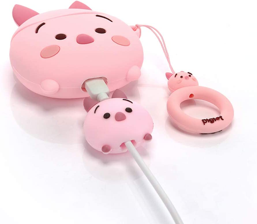 ZAHIUS Silicone Case Compatible for Apple Airpods 1/&2 Funny Cover with Cute Cartoon Cable Bites Designed for Kids Girl and Boys Piglet