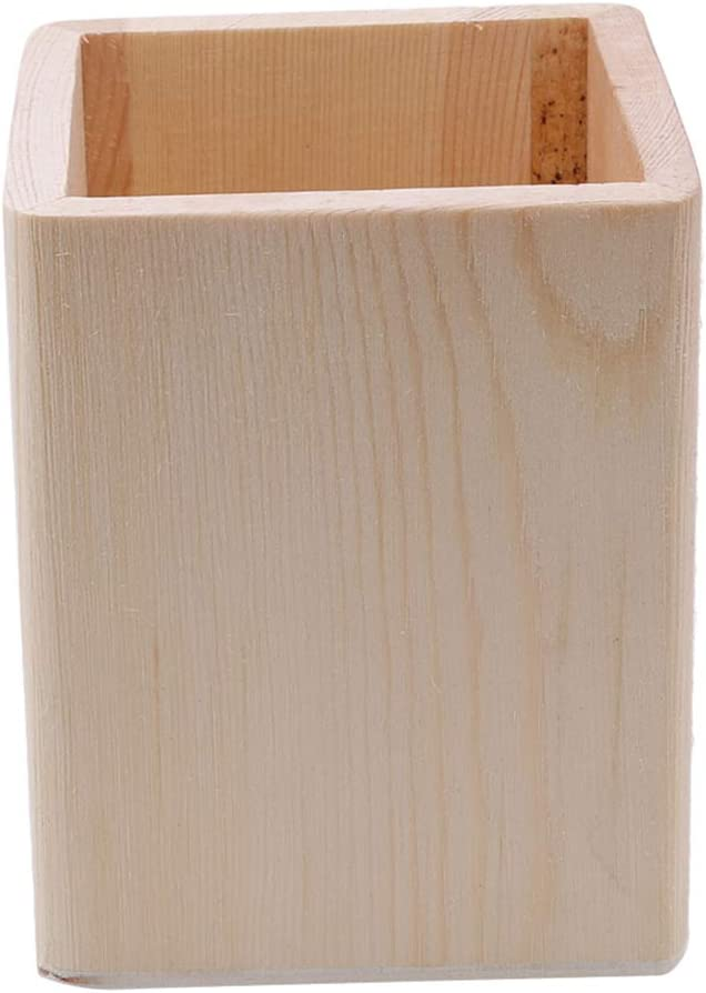 Round Square Hexagon Wooden Pencil Pen Holder Makeup Brush Storage Container TO