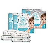 The Honest Company Super Duper Club Box with True Absorb Diapers   288ct Designer Wipes Pandas   Safari Size 3 108 Count