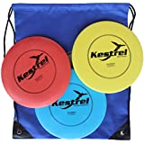 Kestrel Sports Plastic Disc Golf Pro Set Bundle of 3 Discs with Bag (Ages 6+)