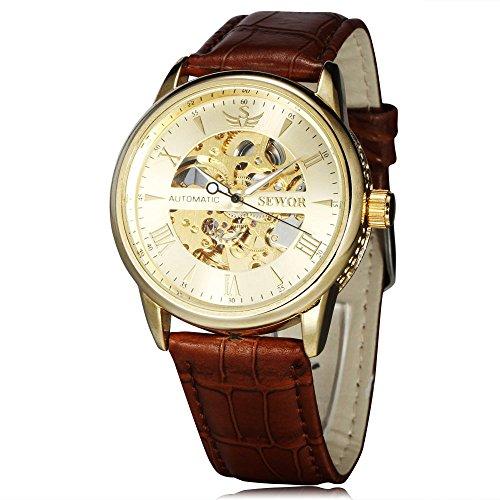 SEWOR Leather Band Mechanical Wrist Watch - 8