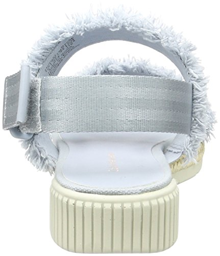 WoMen White Canvas Cby Klein Turquoise Muriel Calvin Sandals Jeans Chambray Strap Fringe an8HwTETxq