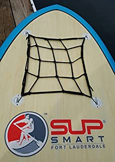 SUPSmart Stand Up Paddle Board Cargo Net with 4 Anchors allowing Bungee to Stretch Securing other