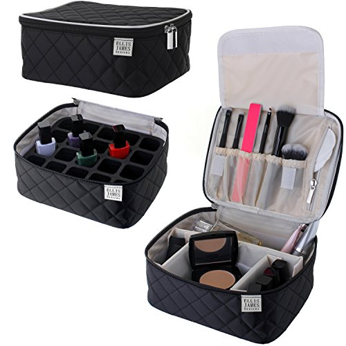 Travel Makeup Train Case Bag, Jewlery, Cosmetic & Toiletry Carry Bag Organizer (Black) Ellis James Designs - Portable Make Up Kit With Handle, Adjustable Dividers, Brush Holders & Accessory Pockets - Jewlery Box Divider