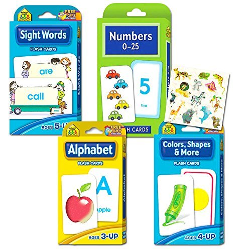 School Zone Flash Cards Super Set Toddler Kids -- 4 Packs (ABC Flash Cards, Numbers, Colors and Shapes, Sight Words, (Shape Card)