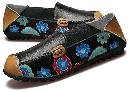 Fangsto Dames Leren Bloemen Instappers Platte Schoenen Slip-ons Sty-1 Zwart