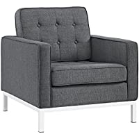 Modway Loft Upholstered Fabric Mid-Century Modern Armchair in Gray