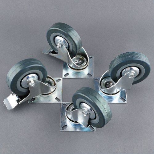MVPower 4 Pack 3 Inch Swivel Caster Wheels Dust Cover Rubber Heavy Duty Castors with 360 Degree Top Plate(3 inch with brake,Gray) ()