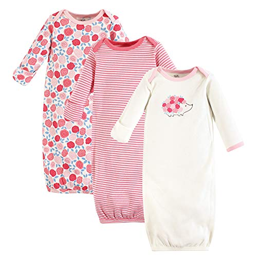 Touched by Nature Baby Organic Cotton Gowns, Rosebud 3-Pack, 0-6 Months