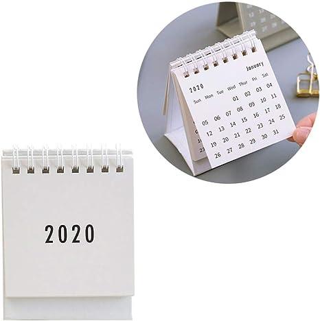 NUOBESTY Calendario de escritorio 2020 1pc mini calendarios de ...