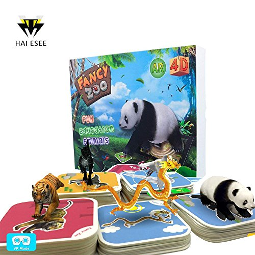 Learning Zoo (Monopril 68pcs Animals Flash Cards Fancy Zoo Fun Education Animals Augmented Reality 4D AR Learning Cards Magical Animal Interactive Educational Game with 13 languages for 3 years and up kids)