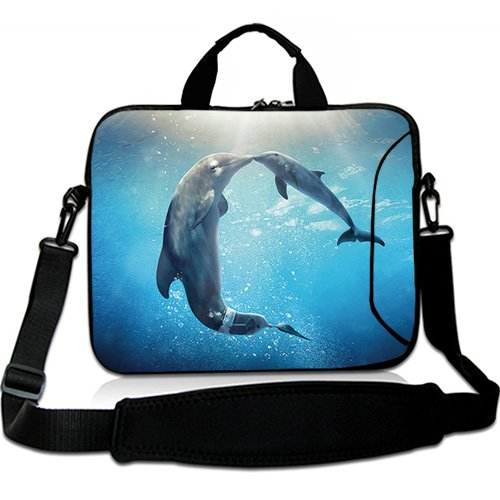 Dolphin Briefcase - Wondertify 15-15.6 Inch Water-Resistant Neoprene Laptop Shoulder Bag Sleeve Briefcase - Dolphin Laptop Carrying Bag Case for MacBook/ASUS/HP/Toshiba/Dell/Laptop/Ultrabook/Notebook/Men/Women