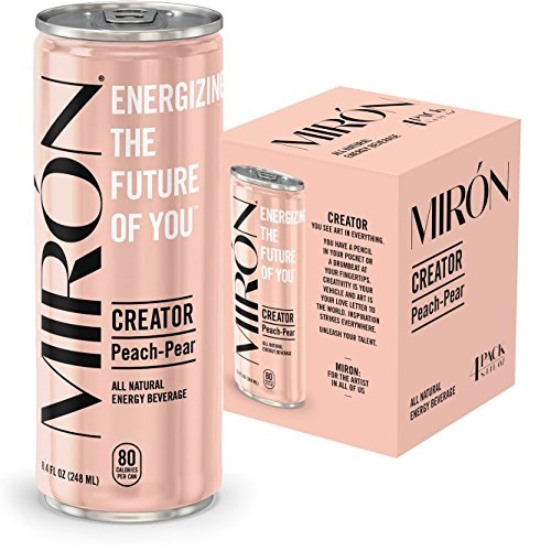 Mirón Peach Pear All Natural Sparkling Energy Beverage 8.4 Fl.Oz. Cans (Pack of 4) (Energy Pear)