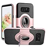 Dairnim Note 8 Case, Galaxy Note 8 Case, Ring Stand Dual Layer TPU Bumper Anti-Scratch Shockproof Support Magnetic Car Mount Holder Thin Soft Case for Samsung Galaxy Note 8, Rose Gold