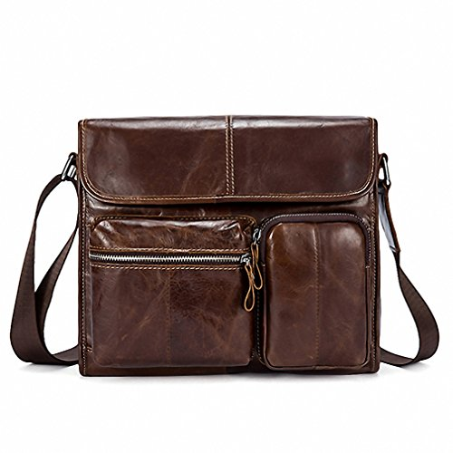 Leather Men Bag Male Small Flap Mens Shoulder Crossbody Bags Leather Bag for Men Messenger Bags 380 Y380F1coffeeBlogo (Studded Suede Flap)