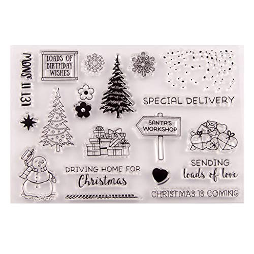 Haayward - Nice DIY Silicone Clear Stamp, Christmas Tree Snowman Cute Patterns for DIY Scrapbooking and Card Making Embossing Album Deco Decorations