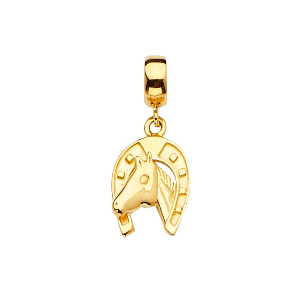 Size : 22 x 10 mm Wellingsale 14k Yellow Gold Horse Shoe Charm for Mix /& Match Bracelet