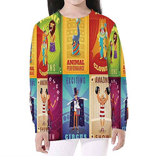 Unisex Boys' Girls' Crewneck,Circus Decor,Print Pullover Sweatshirts,S