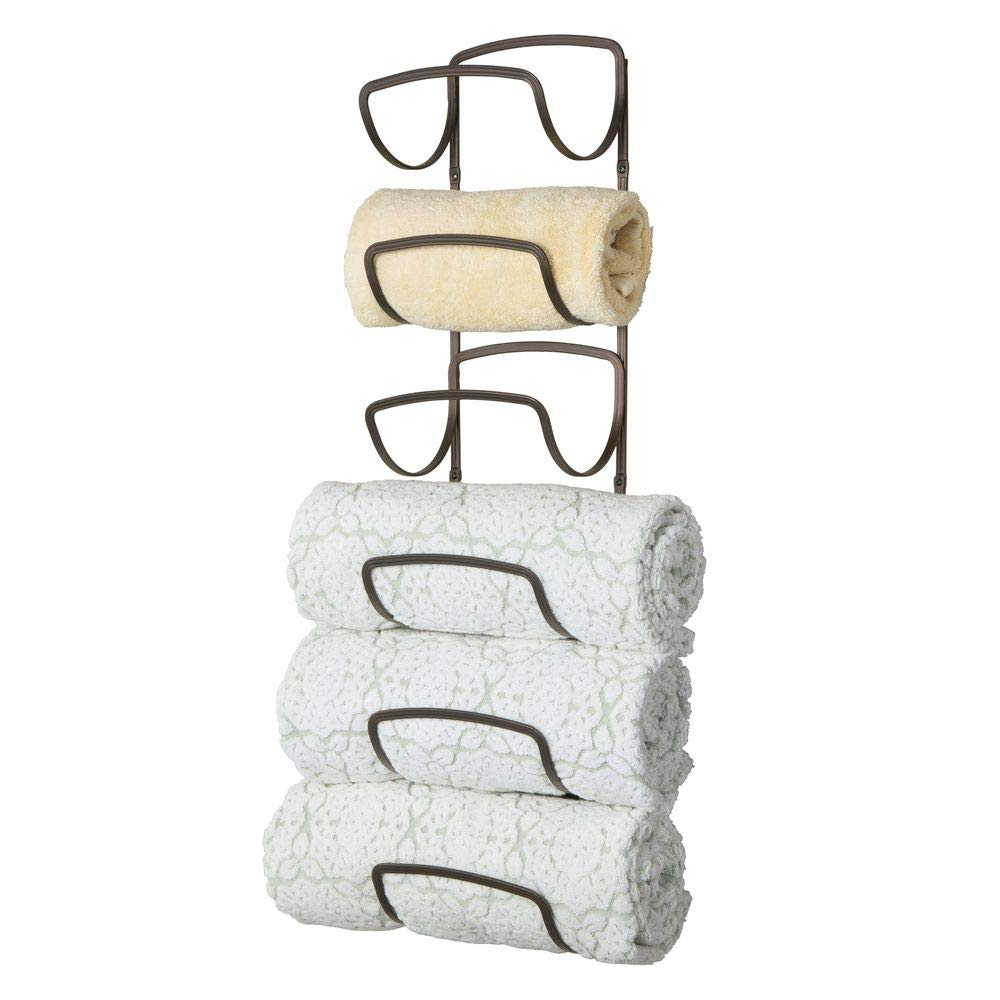 mDesign Modern Decorative Six Level Bathroom Towel Rack Holder & Organizer, Wall Mount - for Storage of Bath Towels, Washcloths, Hand Towels - Bronze